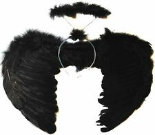 Feather Black Dark Angel Fairy Wings and Halo Halloween Fancy Dress Gothic