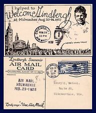 US WISCONSIN AVIATION WELCOME LINDBERGH TO MILWAUKEE POSTED 1928 TO CLINTONVILLE