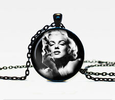 New Monroe Charm Glass Dome Cabochon Black Chain Necklace Pendant