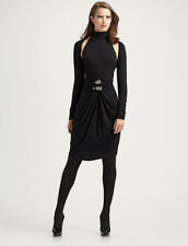 SPECTACULAR SOLD OUT $2,595 DONNA KARAN BLACK COLD SHOULDER WRAP DRESS (NWT)