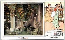 """New York City Postcard PRINCE GEORGE HOTEL """"Tea Room"""" Interior c1910s Unused"""