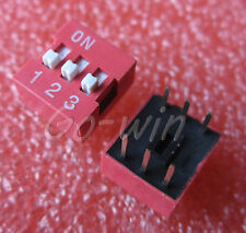 10PCS Red 2.54mm Pitch 3-Bit 3 Positions Ways Slide Type DIP Switch