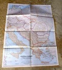 LARGE MAP CENTRAL EUROPE WITH ALLIES FLAGS IN OCCUPATION ZONES 1951
