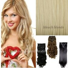 Mega Thick Clip In Hair Extensions One Piece Straight Wavy For Human Party hn27