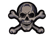 Skull and Cross Bones Skeleton Iron On Motorcycle Biker Vest Patch 5x4 inches P1