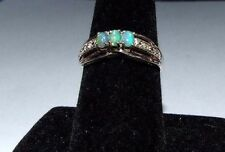 VINTAGE STERLING SILVER RING WITH 3 SOLID OPALS AND TWO SMALL DIAMONDS. SIZE P.