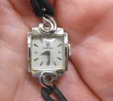 VTG Omega 14K White Gold Diamond Ladies Wrist Watch 17 Jewels W/ Extra Band