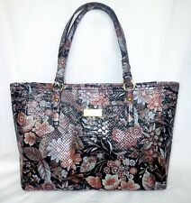 NWT BRAHMIN Medium Arno Black Bohemia Floral Genuine Leather Tote + Dust Bag