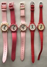 Vintage Lorus Disney Minnie Mouse Watch Lot Of 5, Pink Red Women Children