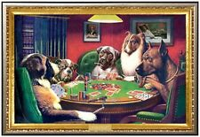 Coolidge Dogs Playing Poker Poster in Premium Gold Wood Frame 24x36