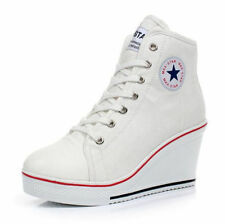 New Women Canvas Shoes High Top Wedge Heel Trainers Lace Up Zip Boots Sneakers