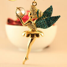Angel Wing Ballet Girl Blue Keychain Rhinestone Crystal Key Ring Cute Gift 01184