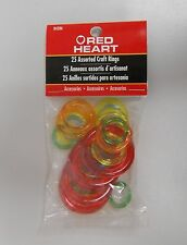 Red Heart 25 assorted plastic Craft Rings 1/2 to 1 1/8 inches Potholder Hangers