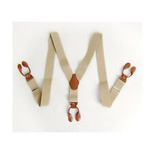 Mens Elastic Leather Button Suspenders Adjustable 6holes Braces Beige