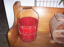 """Antique Primitive Old Wooden Ice Cream Bucket 10 1/2"""" tall Red Chippy Paint"""