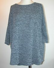 "LOOSE FITTING LAGEN LOOK GREY LONG SEEVE T SHIRT/ PULLOVER BUST 48"" -LARGE UK 14"