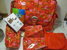 Kalencom Laminat Buckle Diaper Bag 4 pcs Set ~ Red, Pink, Orange HOODIES Flower
