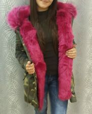 ladies boutique celeb army camouflage parka coat with fushia pink fur