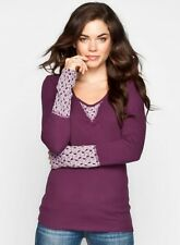 New Womens Thermal Purple Plum Crochet Embroidered Cuff Tops by Others Follow