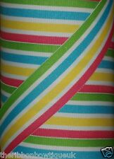 "38mm (1.5"")  wide GREEN/BLUE/YELLOW/PINK/WHITE STRIPE WOVEN DOUBLE SIDED RIBBON"