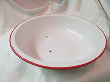Vintage red & white Graniteware Basin Bowl