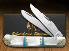 SILVERHORSE Mother of Pearl and Blue Turquoise Trapper Pocket Knife Stainless