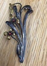 Antike florale 925er Silber Jugendstil Brosche Blumen