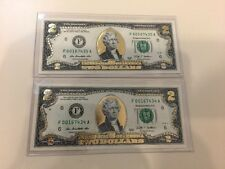Uncirculated GOLD Leaf $2 Two Dollars Bills Of 2 World Reserve Monetary Exchange