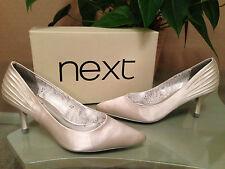 Ladies Next ivory satin wedding court shoes Diamante trim UK 4 EU 37 BNWB