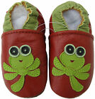 carozoo soft sole leather baby shoes dragonfly red 6-12m