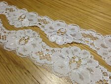 EL18 3m x 40mm Ivory White FLORAL DESIGN Elastic Lace Bridal Wedding Trim Ribbon