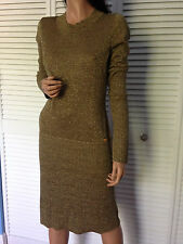 Auth.CHANEL '09A MOSCOW Collection Shimmer Knit Wool Blend Dress sz40
