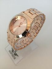 Rose Gold Tone Diamante Ladies Women Fashion Bracelet Softech Quartz Wrist Watch