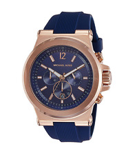 New Michael Kors Dylan Rose Gold Navy Blue Chronograph Silicone MK8295 Men Watch
