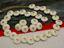 Vintage  Trifari Gold tone white flower Rhinestone Necklace Clip On Earrings