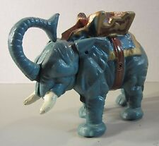 Vintage Collectible Cast Iron Elephant Coin Bank With Jointed Trunk & Tail