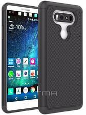 LG V20 Heavy Duty Rubber Dual Layer Impact Shockproof Hybrid Case Cover - Black