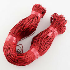 86 Metres Red Cotton Waxed Cord Jewellery Craft Findings 1mm - LB1416