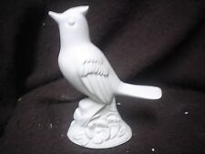 """C497 - Ceramic Bisque 5"""" Bluejay or Cardinal with Flower - Ready to Paint"""