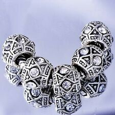 5pcs Silver Plated Crystal Charms Spacer Beads Fit European Bracelet Wholesale