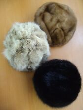 3 (LOT) MINT CANADIAN FUR HAT HATS WOMAN WOMEN 1 MINK 1 MUSKRAT 1 MONTANA LYNX