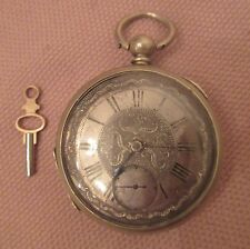 large antique coin silver 18th century fusee key wind engraved pocket watch