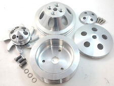SBC Small Block Chevy 2 / 3 Groove Aluminum Short Pump Pulley Kit 283 327 350 V8