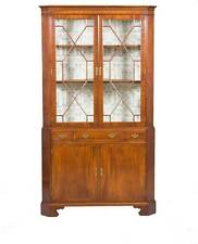 Antique Style Large Double Door Glass Top Corner Cabinet Cupboard Hutch Display