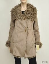 Nwt $550 Michael Kors Faux Suede/Shearling Winter Jacket Coat Taupe/Beige S