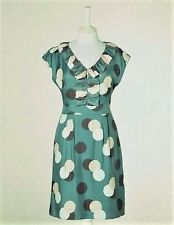 $128 BODEN SILK BLEND GREEN POLKA DOT SPOTTY RUFFLE FRONT DRESS WH358 - US 16R
