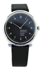 Mondaine MH1.R2220.LB Helvetica No1 Regular BLK Dial Men Leather Watch New