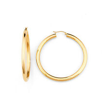 14k Solid Yellow Gold 4mm Thick and 46mm Wide Hoop Earrings - Hoops Earrings