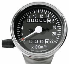 MINI Tachimetro Tachimetro giorni contatore 60mm CROMO NERO 2:1 per SUZUKI MOTO YAMAHA