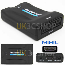 MHL HDMI to SCART Audio Video Converter Scaler Adapter For HDTV DVD Smartphone